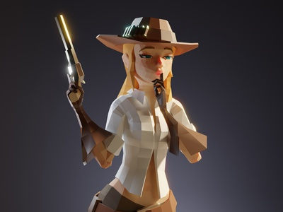 Lowpoly cowgirl girl character game model lowpoly low poly 3d illustration
