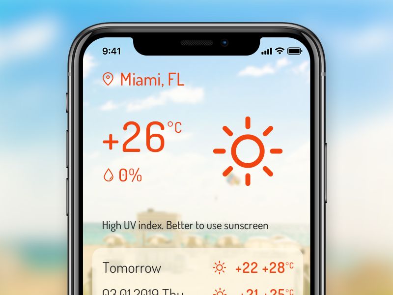 Weather App: Sunny day miami beach summer hot weather forecast weather temperature phone mobile iphone x iphone forecast application app