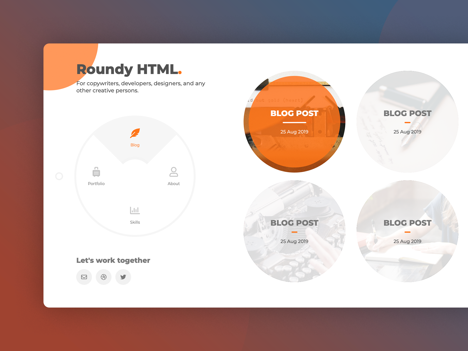 Roundy Html vcard vc trend round resume radial profile portfolio personal website personal freelancer cv curriculum vitae circle business card
