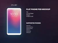 Flat FREE PSD phone mockup - Freebie