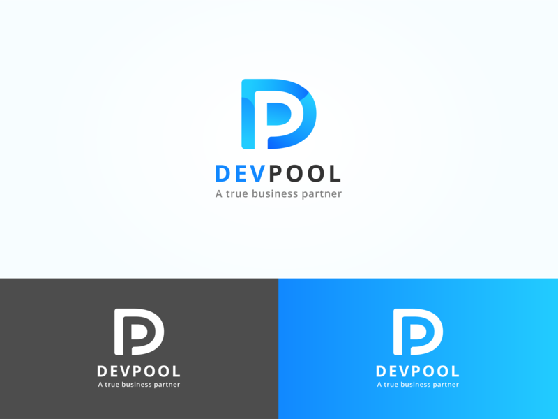 Devpool Logo p d tech pool gradient blue company software develop logo
