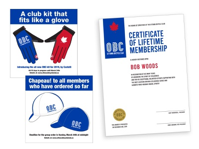 Ottawa Bicycle Club Ads and Branded Materials certificate cyclingkit cyclingkit cyclingevent logo cycling branding