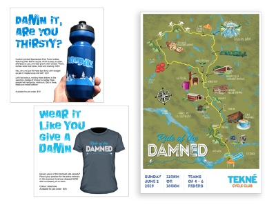 Tekné Ride of the Damned 2019 tshirt branding design cyclingevent cycling