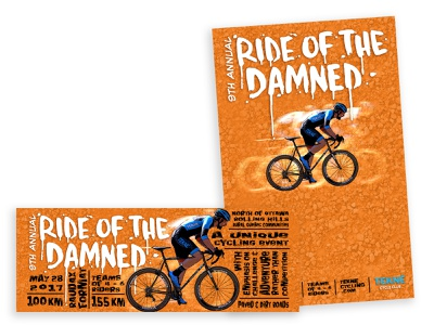 2017 Tekné Club Ride of the Damned poster and banner illustration cycling cyclingevent branding