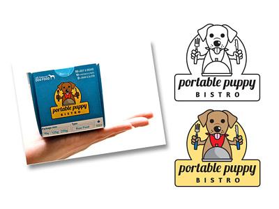 Portable Puppy Bistro Logo Design dog illustration branding