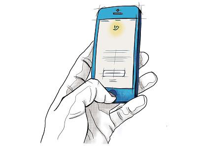 Tweet Yo'Self twitter hand holding cell phone line art cell phone hand illustration digital illustration