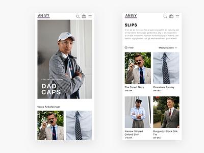 An Ivy Mobile Web Design - E-commerce product category shopping web shop webshop shop ui design webdesign web