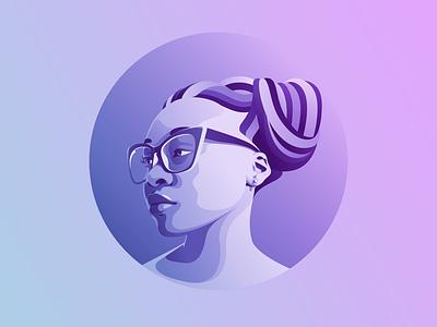 Portrait branding flat illustraion flat  design amadine illustration design art vector