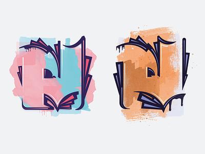 Street Art Representation inspiration art water-color graphic ges graffiti art graffiti violet orange blue pink illustraion vector street art