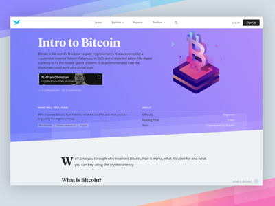 Bitcoin Header Learn Guide header guide gradients isometric bitcoin