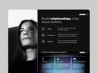 Better Relationships - A Web3 Landing Page black and white dark mode wallet fast photography interface dark ui bitcoin crypto