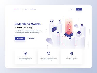 Intelogics - Homepage isometric models artificial intelligence vector minimal landing page webdesign website web typography header illustration clean branding ux ui
