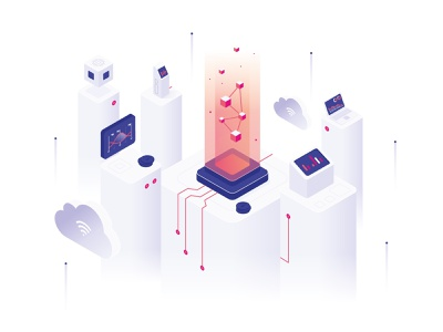 Isometric Illustration artificial intelligence branding isometric vector illustration design