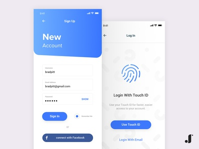 Sign Up & Log In facebook ux ui touchid login signup ios app