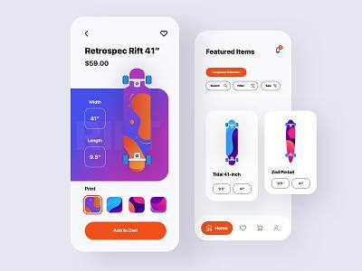 Longboard App - Concept illustration skateboard longboard abstract gradient ios app ux ui