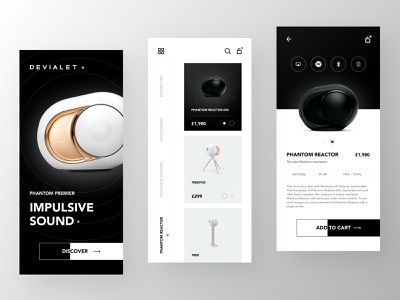 Devialet Speakers - Main Screens ui design store speakers shop products minimal interface interaction gradients futuristic fashion app fashion ecommerce app ecommerce dark clean app design add to cart ux ui