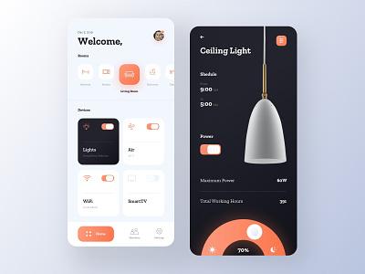 Smart Home App home light interior orange smart home app smart home lamp minimal mobile ios app ux ui