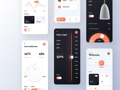 Smart Home App - All Screens smart home app smart home orange minimal light lamp interior home mobile ios app ux ui