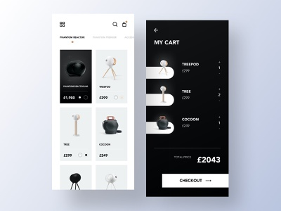 Devialet Speakers - Checkout ux ui design ui store speakers shop products minimal interface interaction gradients futuristic fashion app fashion ecommerce app ecommerce dark clean app design checkout