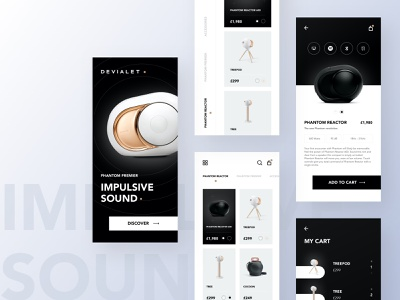 Devialet Speakers - All Screens ui design ux ui store speakers shop products minimal add to cart interface interaction gradients futuristic fashion app ecommerce app ecommerce dark clean checkout app design