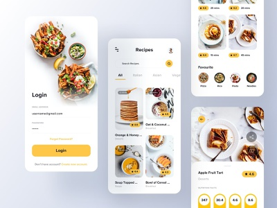 Recipes App branding foodie food app ui food app design food app recipes recipe food mobile minimal ios app ux ui