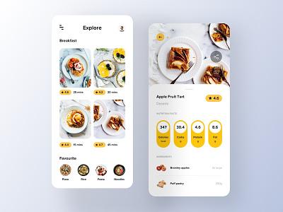 Recipe App - Explore ux ui recipes recipe mobile minimal ios foodie food app ui food app design food app food branding app