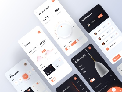 Smart Home App - All Screens ux ui smart home app smart home orange mobile minimal light lamp interior home ios app