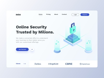 Instic - Hero Block ui ux webdesign web website illustraion security header clean landing page network security typography branding
