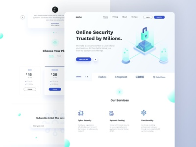 Instic - Landing Page branding typography network security landing page clean header security illustraion website web webdesign ux ui