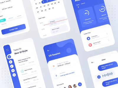 Task Management - App Concept team personal mobile account task management tasks minimal flat design clean calendar branding app ux ui