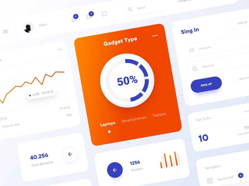 Cards & UI Elements clean minimal search bar sign up todo list navigation bar analytics sign in design system dashboard design atomic product design app ux ui