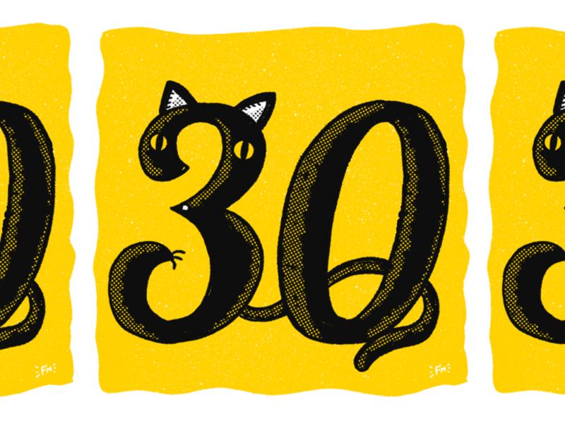 Cat-tastic 30th Birthday card risograph print illustration