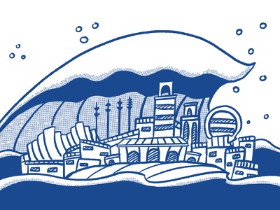 Blue Wave over KC monochrome editorial illustration