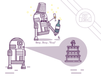 R2D2 Wedding Illustrations