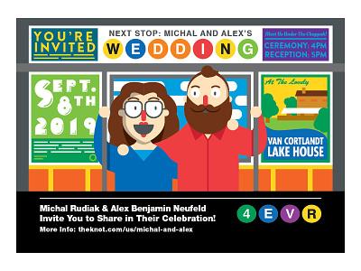Michal and Alex's Wedding Invites typography subway invitation invite wedding new york mta character design illustrator bold minimalist minimal vector illustration