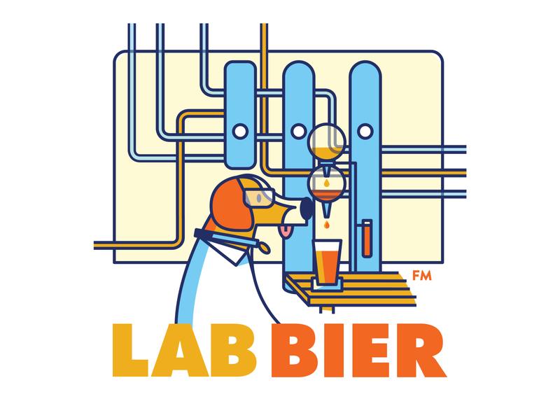 Lab Bier Illustration lab science brand branding brewery beer dog illustrator logo character vector illustraion