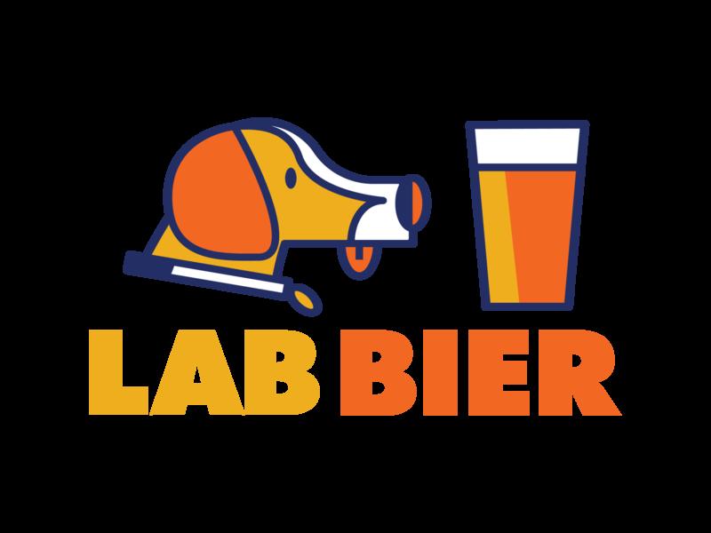 Lab Bier typography illustration vector minimal logo design bier beer dog logo