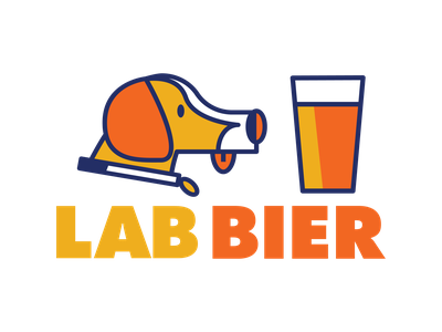 Lab Bier typography illustration vector minimal logo design bier beer dog logo