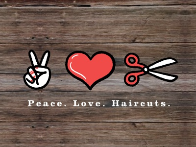 Peace Love Haircuts icon iconography hand drawn logo illustrator illustration