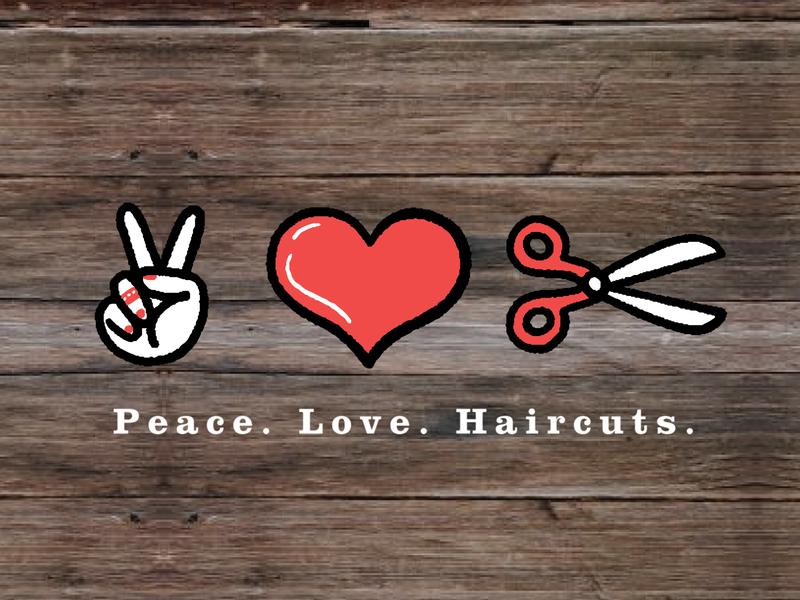 Peace Love Haircuts icon iconography hand drawn logo illustrator illustration