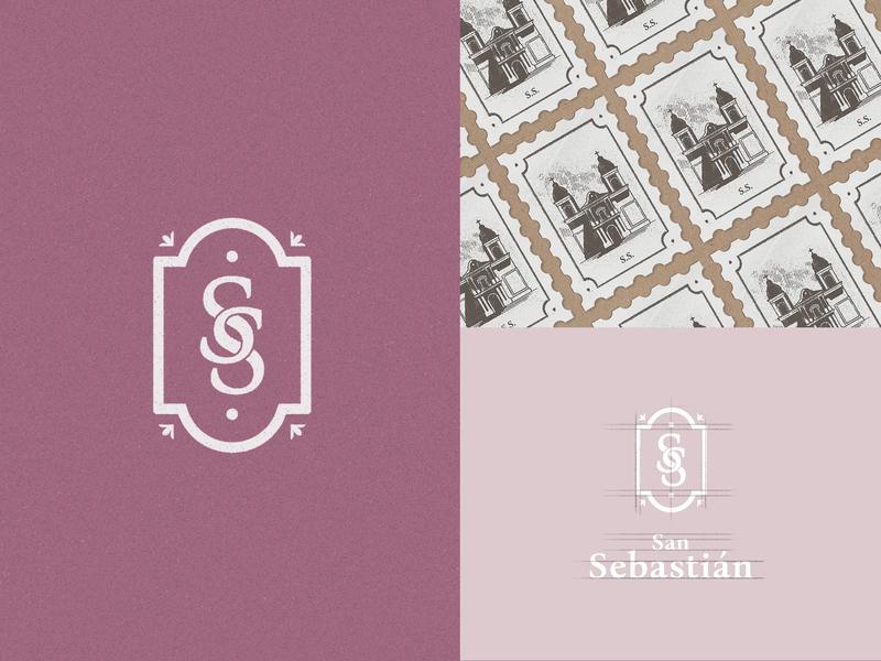 San Sebastián Brand identity stamp cake shop design logo illustration brand identity branding pastry bakery badge design