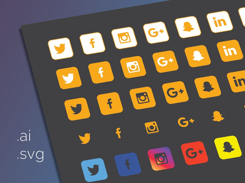 40 Icons Dribbble media social set icons free flat svg ai