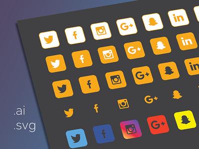 40 Icons Dribbble media social set icons free flat svg ai