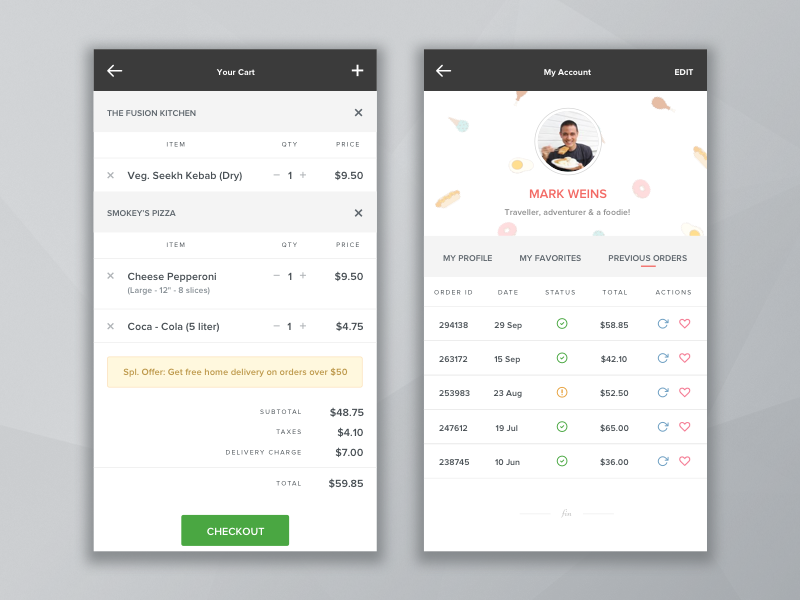 Food Delivery App - Order & Shopping Cart Mockup by Jal