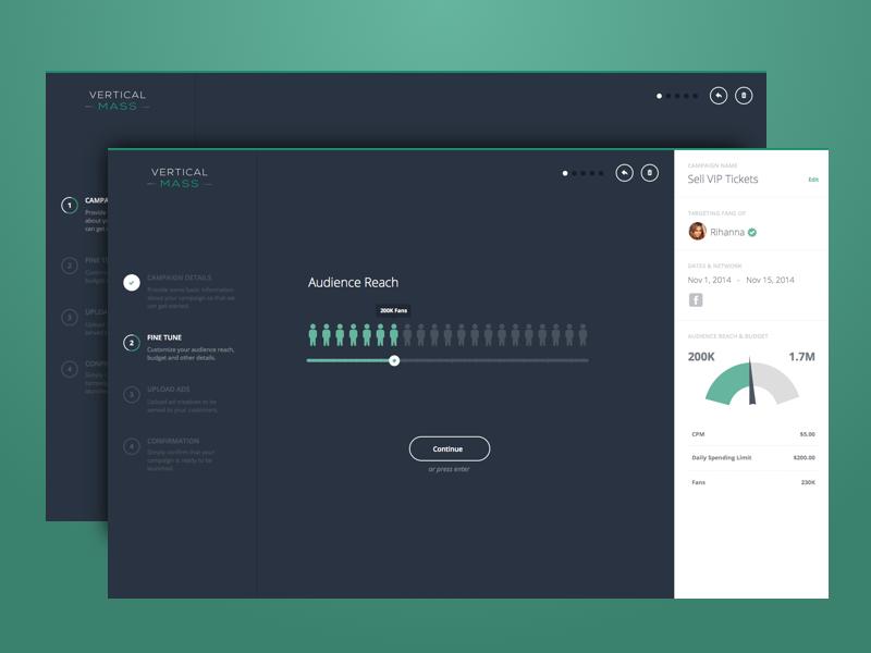 Ad Creation ui user-interface interface design clean