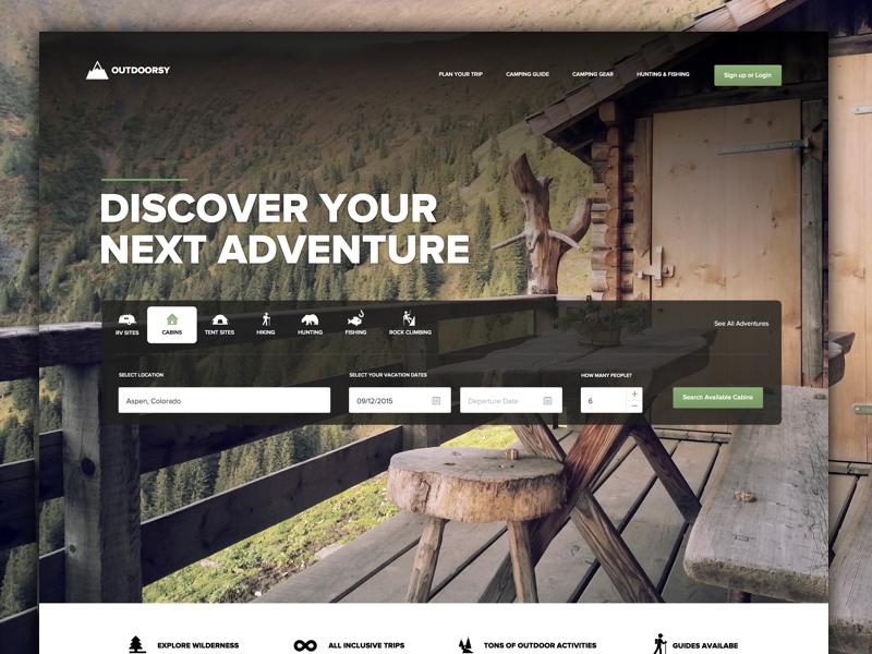 Outdoorsy marketing branding landing homepage app web-app clean design interface user-interface ui