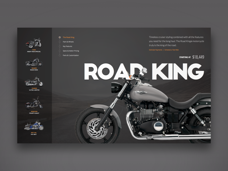 Motorcycles typography shopping ecommerce app web-app clean design interface user-interface ui