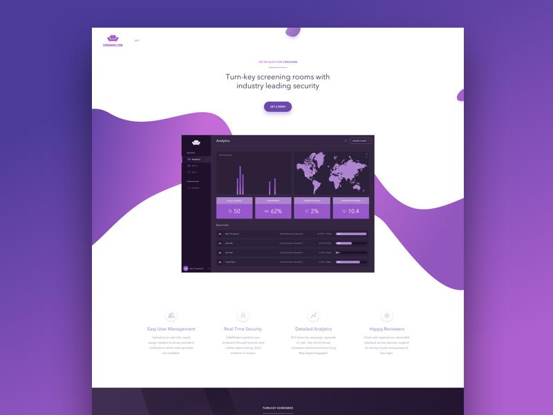 Screeners wordpress colorful abstract user-interface ui design clean site website homepage landing