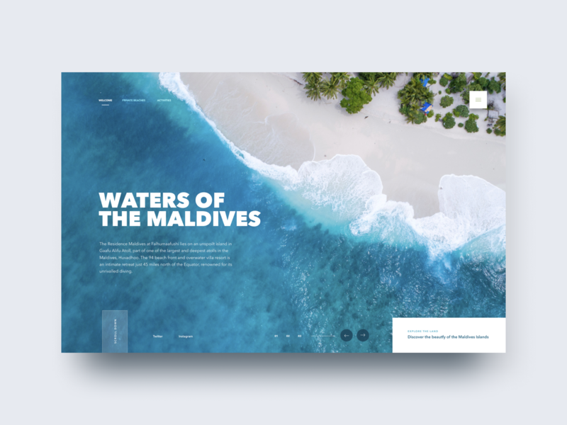 Waters of The Maldives wordpress branding ux landing page site marketing landing interface user-interface ui clean home homepage website design