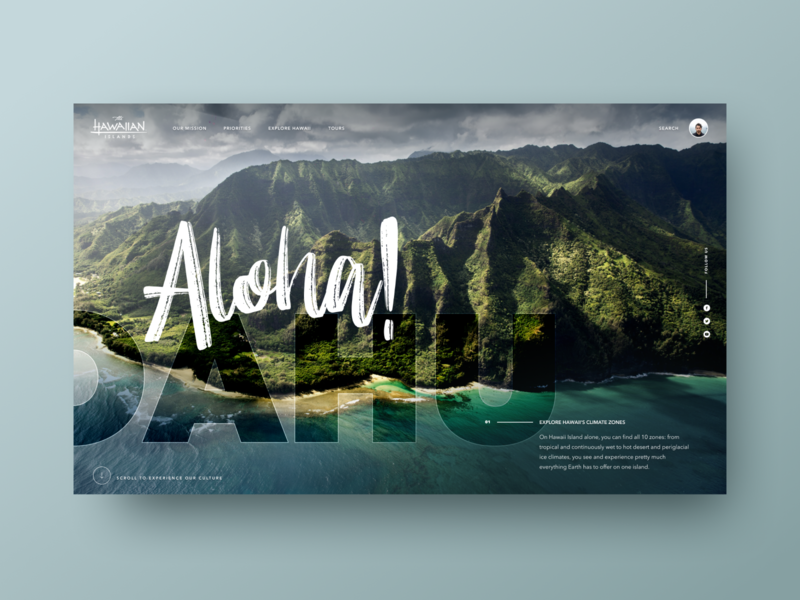 Aloha website design web desgin travel typogaphy wordpress landing page ux site marketing home landing website homepage interface user-interface ui clean design
